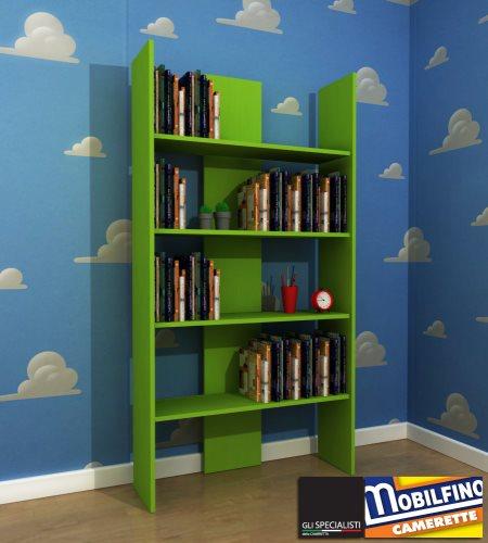Mobilfino libreria verde mela 94x180 cameretta b b scaffale green apple library ebay - Camerette verde mela ...